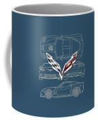Chevrolet Corvette 3 D Badge Over Corvette C 6 Z R 1 Blueprint Coffee Mug