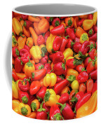 Close Up View Of Small Bell Peppers Of Various Colors Coffee Mug by PorqueNo Studios