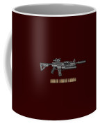 Colt  M 4 A 1  S O P M O D Carbine With 5.56 N A T O Rounds On Red Velvet  Coffee Mug