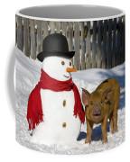 Curious Piglet And Snowman Coffee Mug