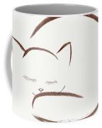Cute Snuggled Sleeping Cat Illustration Design On Light Beige Ba Coffee Mug