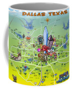 Dallas Texas Cartoon Map Coffee Mug