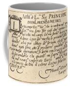 Dedication To Don Lorenzo De' Medici Coffee Mug