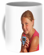 Diabetic Child With Blood Glucose Tester Coffee Mug