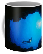 Diver At Cavern Entrance Coffee Mug