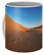 Dune With Magnificent Sandy Waves At Hot And Windy Morning In Desert  Coffee Mug