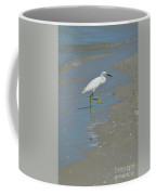 Egret Walking Up The Beach Coffee Mug