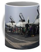 F-14d Tomcats On The Flight Deck Of Uss Coffee Mug