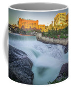 Falls And The Washington Water Power Building Along The Spokane  Coffee Mug
