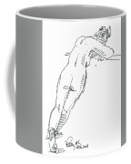 Female Figure Drawing Standing Pose Fountain Pen Ink  Coffee Mug
