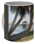 Gazebo Dock Framed By Leaning Palms Coffee Mug
