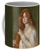 Girl Combing Her Hair Coffee Mug by Pierre Auguste Renoir