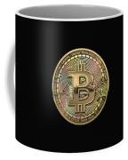 Gold Bitcoin Effigy Over Black Canvas Coffee Mug