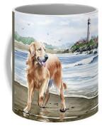 Golden Retriever At The Beach Coffee Mug