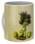 Green Apples And Blue Thistles Coffee Mug by Priska Wettstein