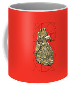 Heart Of Gold - Golden Human Heart On Red Canvas Coffee Mug