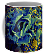 Hiv-infected T Cell, Sem Coffee Mug by Science Source