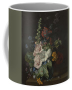 Hollyhocks And Other Flowers In A Vase Coffee Mug
