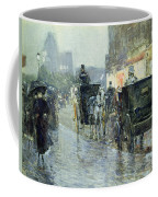 Horse Drawn Cabs At Evening In New York Coffee Mug by Childe Hassam