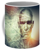 Human Man Face And Dollars Double Exposure. Coffee Mug