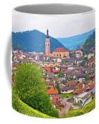 Idyllic Alpine Town Of Kastelruth On Green Hill View Coffee Mug