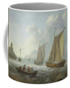 Idyllic Lake Shore With Two Boats Coffee Mug