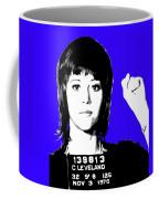 Jane Fonda Mug Shot - Blue Coffee Mug