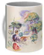 Landscape With A Girl Coffee Mug by Auguste Renoir