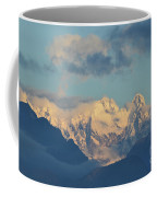 Massive Snow Caped Mountains In The Countryside Of Italy  Coffee Mug