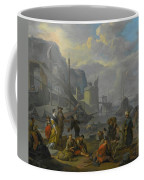 Mediterranean Port With An Elegant Couple Coffee Mug