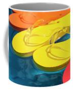 Multicolored Flip Flops Floating In Pool Coffee Mug