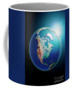 North America 3d Render Planet Earth Dark Space Coffee Mug