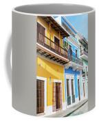 Old San Juan Houses In Historic Street In Puerto Rico Coffee Mug