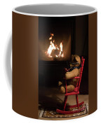 Old Teddy Bear Sitting Front Of The Fireplace In A Cold Night Coffee Mug