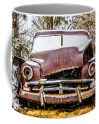 Old Vintage Plymouth Automobile In The Woods Covered In Snow Coffee Mug