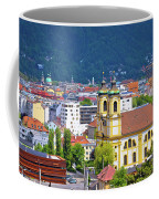 Panoramic Aerial View Of Innsbruck And Hafelekarspitze Mountain Coffee Mug