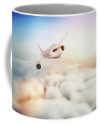 Passenger Airplane Flying At Sunset, Blue Sky. Coffee Mug