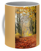 Path Of Red Leaves Towards Light In Fall Forest Coffee Mug
