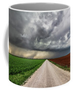 Pick A Side - Colorful Fields Divided By Road On Stormy Day In Oklahoma. Coffee Mug