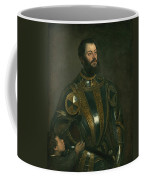 Portrait Of Alfonso D'avalos Marquis Of Vasto In Armor With A Page Coffee Mug