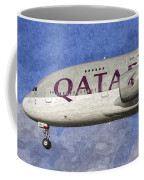 Qatar Airlines Airbus A380 Art Coffee Mug