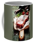 Raw Beef Steak And Wine Coffee Mug