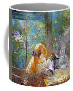 Red-haired Girl Sitting On A Veranda Coffee Mug