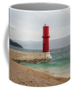 Red Lighthouse Of Cres On A Cloudy Day In Spring Coffee Mug