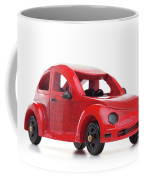 Red Retro Wooden Toy Car Isolated On White Background Coffee Mug
