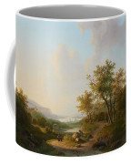 River Landscape With Views Of A Castle And Town Coffee Mug