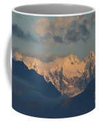 Scenic View Of The Dolomites Mountains With A Cloudy Sky  Coffee Mug