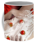 Sexy Nude Woman Body Covered With Cream And Strawberries Coffee Mug