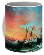 Ships In A Storm At Sunset Coffee Mug