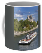Sightseeing Boat On River Seine To Louvre Museum. Paris Coffee Mug